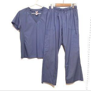 White Cross 2 pièces blue nurse scrub size medium